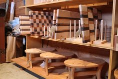 Items on display in the woodshop store