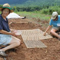 Ellie and Julie participate in a sustainable lifestyle by planting seeds by hand