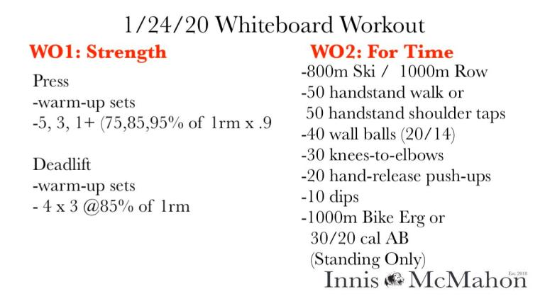 workout plan for January 24th