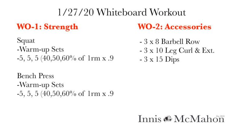 Workout plan for January 27th