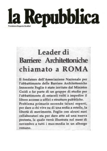 Leader di Barriere Architettoniche chiamato a Roma - La Repubblica