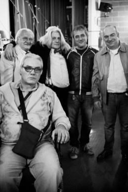 Innocente Foglio con gli amici e l'editore Luca Freddo