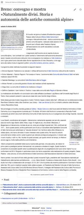 Breno convegno e mostra Naturalmente divisi. Storia e autonomia delle antiche comunita alpine - WikiNews
