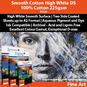 Innova Smooth Cotton High White DS 100% Cotton 225gsm | Archival Inket Fine Art Paper