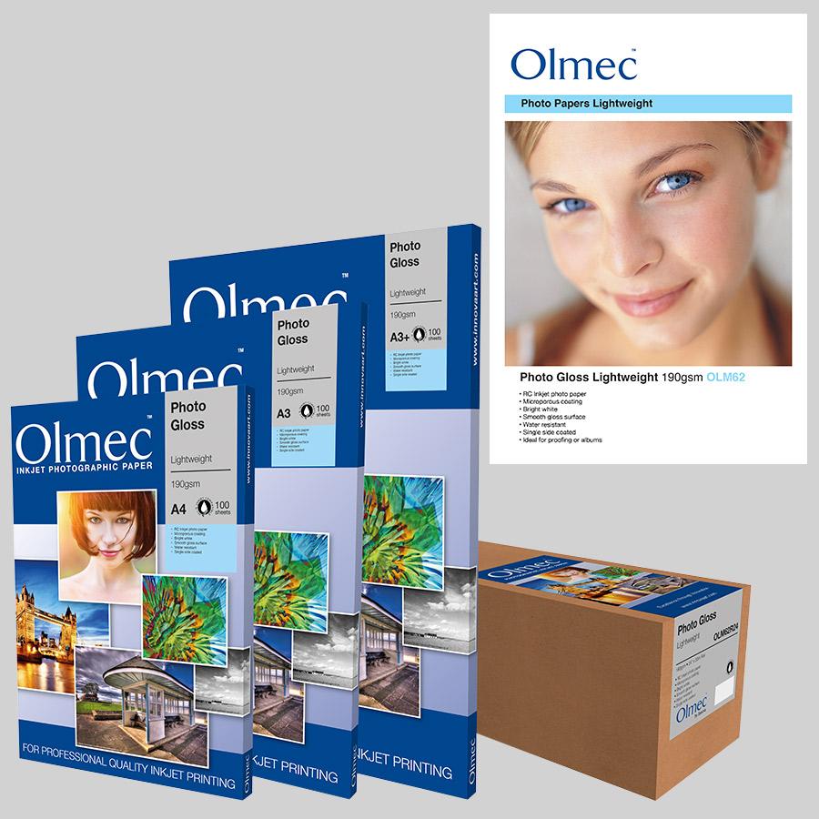 Olmec Photo Gloss Lightweight 190gsm (OLM 62) Inkjet Photo Paper