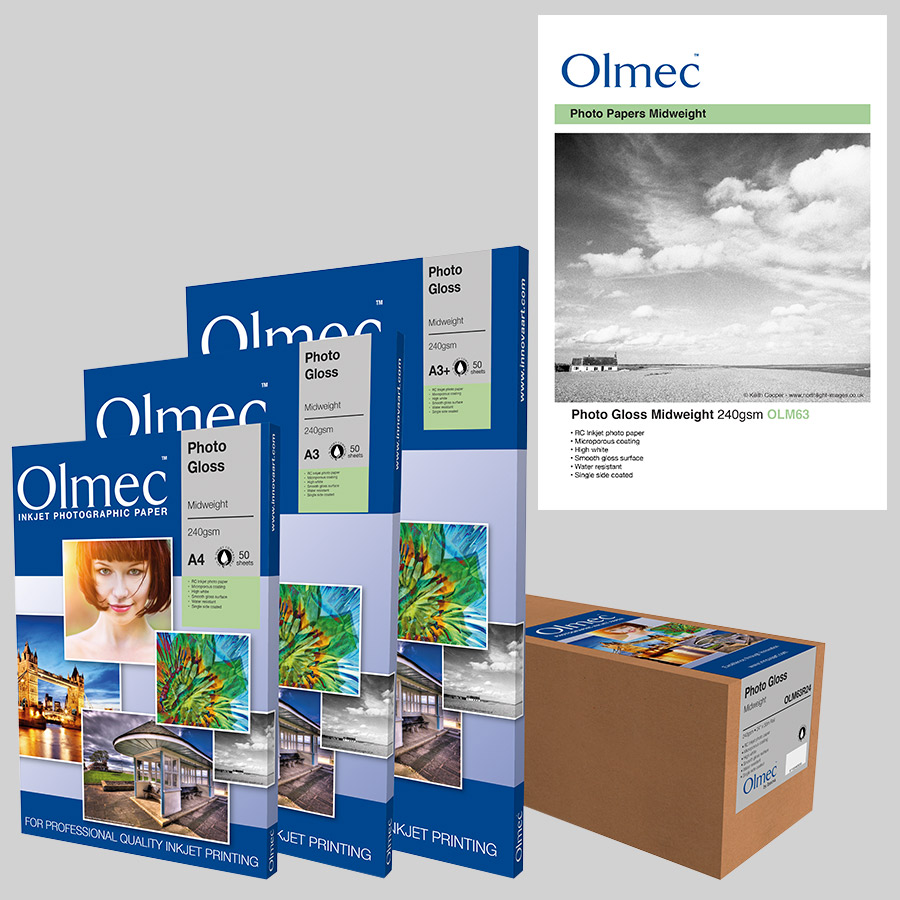 Olmec Photo Gloss Midweight 240gsm (OLM 63) Inkjet Photo Paper