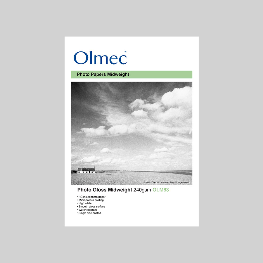 Olmec Photo Gloss Midweight 240gsm Resin Coated Inkjet Photo Paper