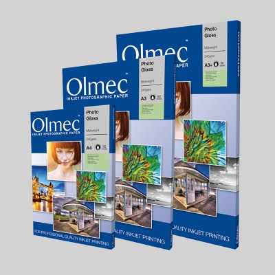 Olmec Photo Gloss Midweight 240gsm Sheet Format Resin Coated Inkjet Photo Paper