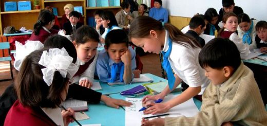 these children at a school in turkestan city are participating in a national reading day