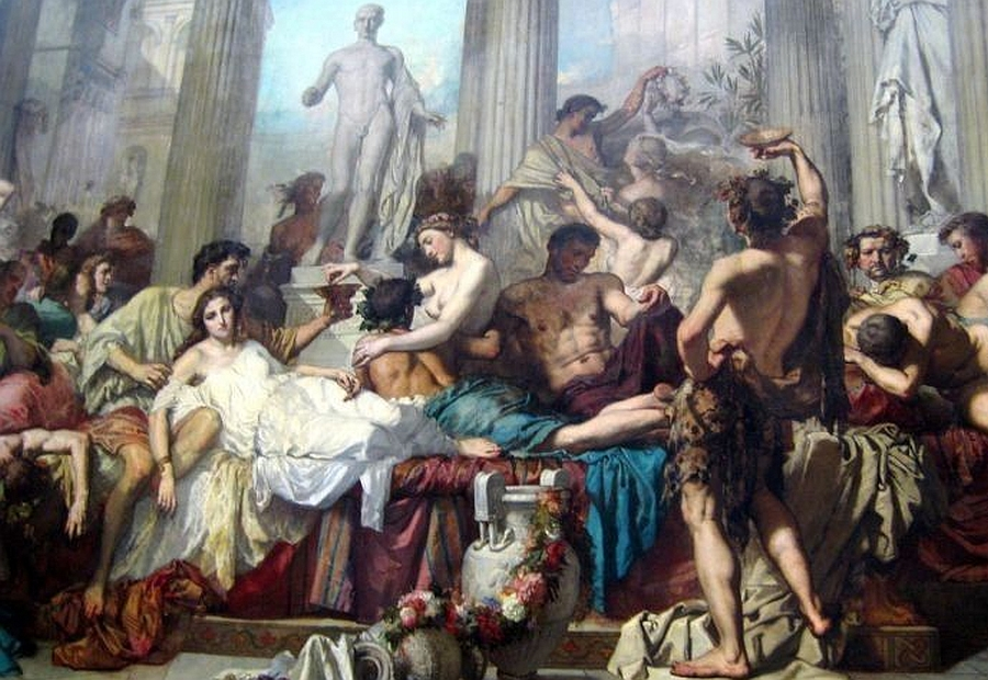 Renaissance painting of a Greco-Roman party with excessive eating, drinking and sensual behavior