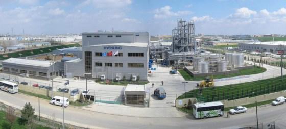 A fábrica de creora elastano da Hyosung, localizada na área de Cerkezkoy, na Turquia.