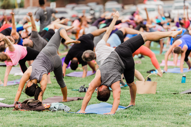 Sunset Salutations is a free yoga event held in the Innovation Quarter.