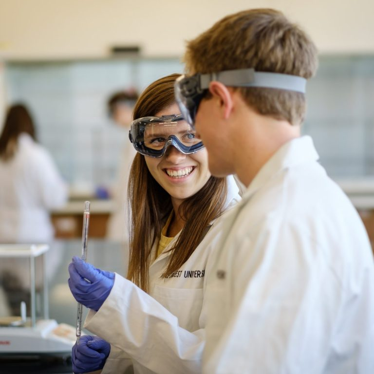 Wake Forest University students in a chemistry class.