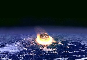 Illustration of the impact of an asteroid a fe...