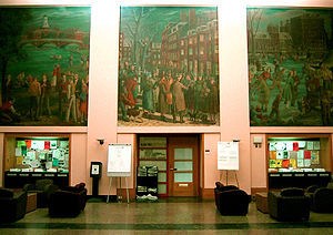 Foyer of the Alfred P. Sloan building, with a ...