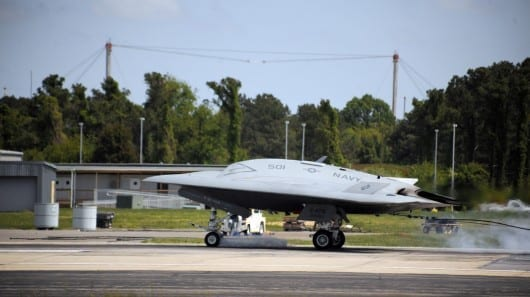 X-47B makes first carrier-style arrester landing