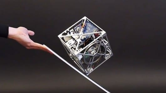 Cube-shaped robot balances on one corner and can move on its own