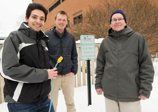 Sending data in small packets revolutionized communications, from the radio to the internet. Now three UVM scientists — Pooya Rezaei, Paul Hines and Jeff Frolik — think packets of power can revolutionize the way electric companies deal with the coming tide of plug-in cars. They've applied for a patent on their new invention.(Photo: Sally McCay)