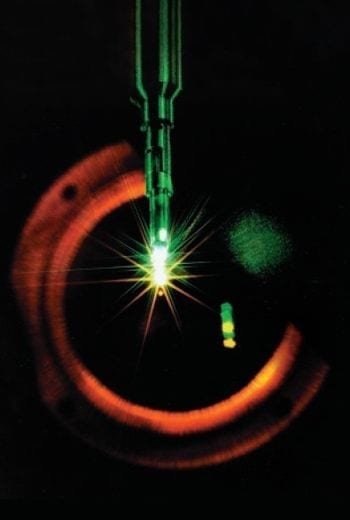 Implosion of a fusion microcapsule on the NOVA laser system. Taken from LLNL September 2002 ST&R publication. http://www.llnl.gov/str/September02/September02.html (Photo credit: Wikipedia)