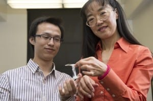 "Graduate student Yu ""Will"" Wang (l) and WSU Prof. Katie Zhong"