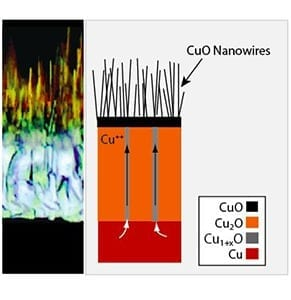 The schematic illustration of the cross-section and phases observed during copper oxidation. The center photo shows the copper being pushed upward through the grain boundaries to become nano wires.