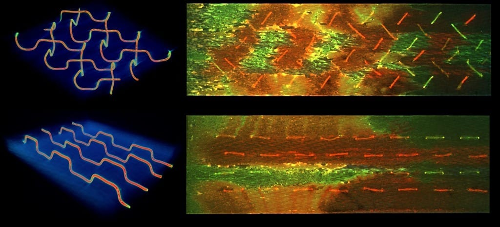 3D microvascular networks for self-healing composites: Researchers were able to achieve more effective self-healing with the herringbone vascular network (top) over a parallel design (bottom), evidenced by the increased mixing (orange-yellow) of individual healing agents (red and green) across a fracture surface. Credit: Jason Patrick