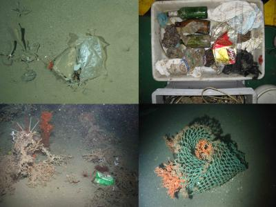 """This shows litter items on the seafloor of European waters. Clockwise from top left i) Plastic bag recorded by an OFOS at the HAUSGARTEN observatory (Arctic) at 2500 m; ii = Litter recovered within the net of a trawl in Blanes open slope at 1500 m during the PROMETO 5 cruise on board the R/V """"García del Cid""""; iii) Cargo net entangled in a cold-water coral colony at 950 m in Darwin Mound with the ROV """"Lynx"""" (National Oceanography Centre, UK). iv) """"Heineken"""" beer can in the upper Whittard canyon at 950 m water depth with the ROV Genesis. Credit: Image credit: Pham CK et al. doi:10.1371/journal.pone.0095839"""