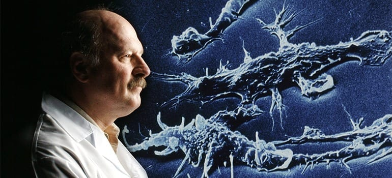 UBC's Bob Hancock and his team of researchers have discovered a peptide that could help destroy biofilms, which are responsible for two-thirds of human infections. Photo: Martin Dee