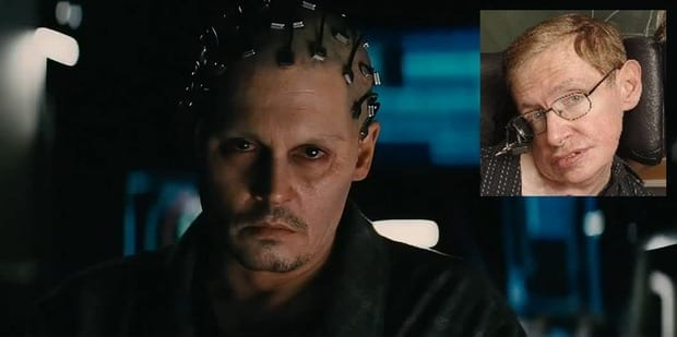 Stephen Hawking, inset, says the new Johnny Depp film Transcendence helps illustrate the perils and potential of AI.