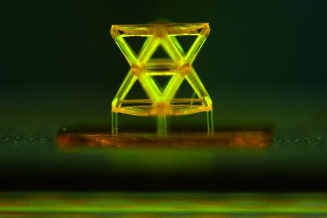 This microscope image shows a single unit of the structure developed by the team, called a stretch-dominated octet truss unit cell, made from a polymer using 3-D microstereolithography. Photo courtesy of the researchers