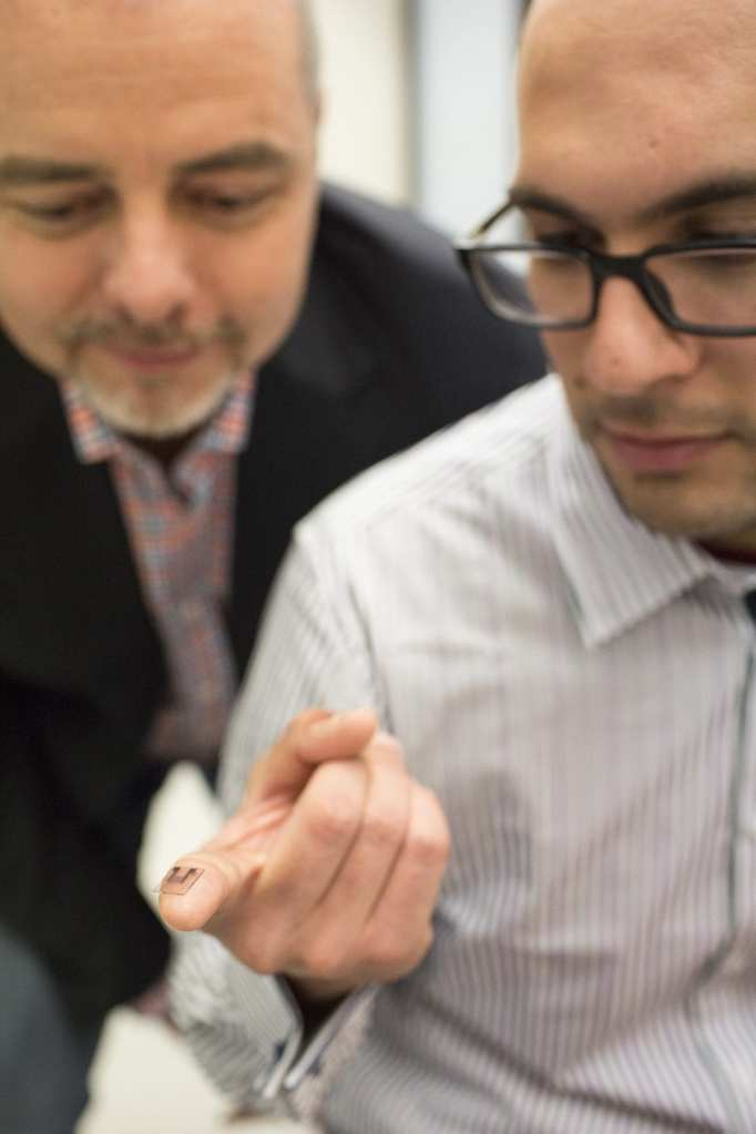 Researchers Professor James Friend and Dr Amgad Rezk with the lithium niobate chip