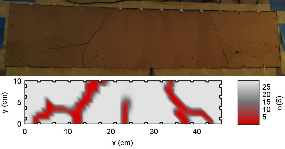 "The ""sensing skin"" technology detects cracks in concrete (as in top image) and reports when and where the damage took place (as in bottom image)."