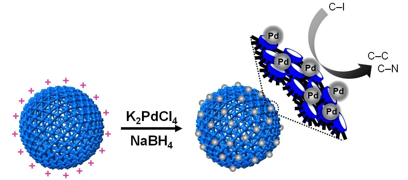 Hollow polymer nanocapsules (PNs) made of cucurbit-[6]uril (CB) serve as a versatile platform since various metal nanoparticles (NPs) can be introduced on the surface. They allow for a controlled synthesis, prevent self-aggregation, and provide high stability and dispersibility. Pd@CB-PNs show outstanding properties as heterogeneous catalysts in C-C and C-N bond-forming reactions in water.