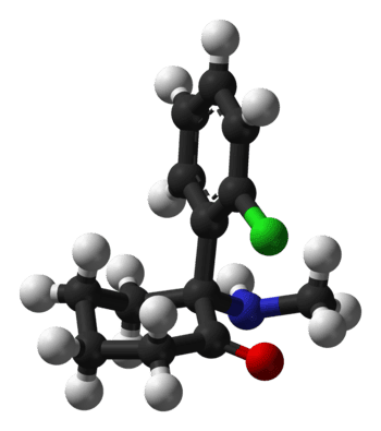ball-and-stick model of (R)-ketamine (Photo credit: Wikipedia)