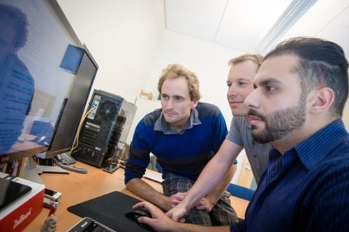 From left: Ph.D. student Jason Oberg, computer science professor Ryan Kastner and postdoctoral research Jonathan Valamehr.