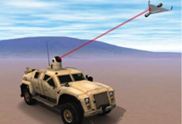The military's laser weapon would shoot down unmanned aerial vehicles that try to target U.S. Marines. Credit: Office of Naval Research