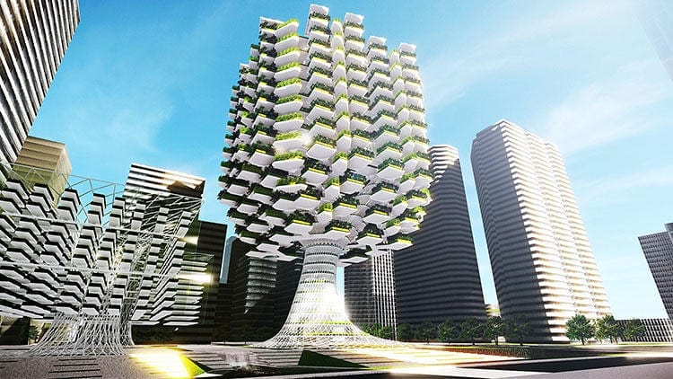 Most existing vertical farms look like plant factories--all of the action happens on the inside.