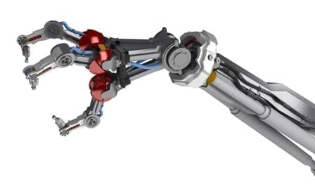 3d robotic arm, over white, isolated