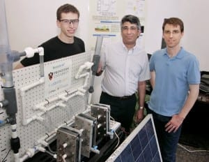 Pictured with the photovoltaic-electrochemical cell system from left to right: Graduate student James White (Princeton), Professor Andrew Bocarsly (Princeton and Liquid Light) and principal engineer Paul Majsztrik (Liquid Light). (Photo by Frank Wojciechowski)