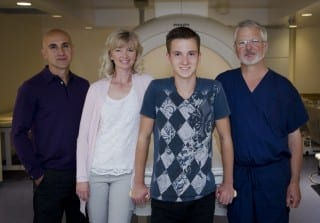 The Hospital for Sick Children (SickKids) Jack and his family with Dr. James Drake following treatment of his osteoid osteoma.