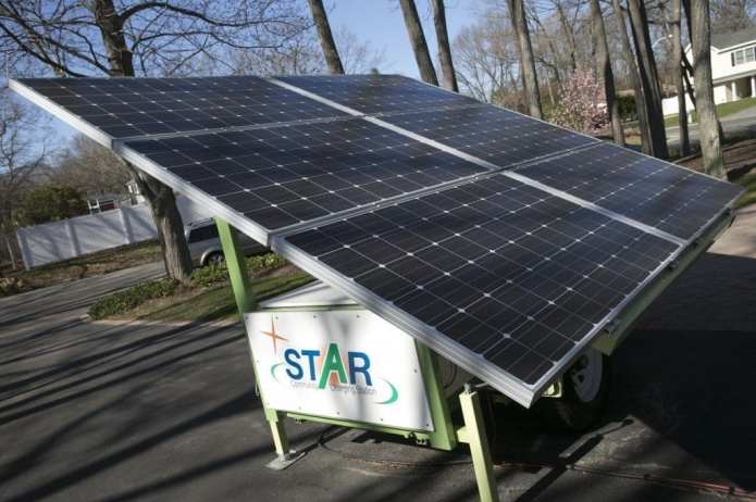 The Nextek Power Systems STAR, a mobile solar generator with battery storage.