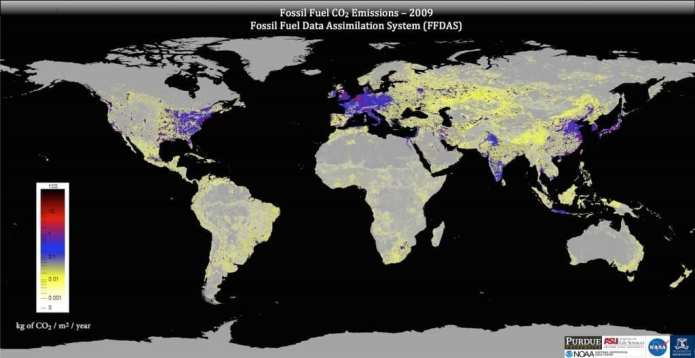 This image shows global fossil fuel carbon dioxide emissions as represented by the Fossil Fuel Data Assimilation System. Credit: Gurney lab