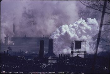 WHITE PLUME CONTAINING MANY POLLUTANTS IS EMITTED FROM A QUENCHING TOWER AT A COKE PLANT OWNED BY THE UNITED STATES... - NARA - 557214 (Photo credit: Wikipedia)