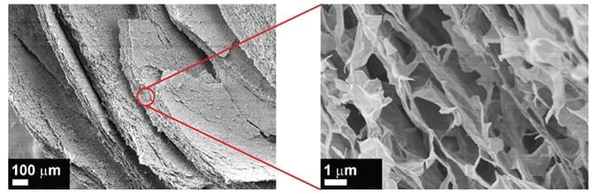 Electron microscopy images of the porous graphene-based structure created by diffusion driven layer-by-layer assembly