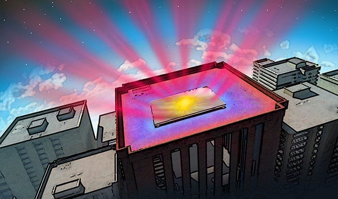 Stanford engineers have invented a material designed to help cool buildings. The material reflects incoming sunlight and sends heat from inside the structure directly into space as infrared radiation – represented by reddish rays. (Illustration: Nicolle R. Fuller, Sayo-Art LLC)