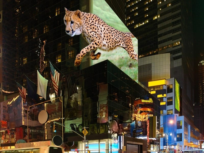 Billboards of the future could show astonishing 3D effects - due to a new technology developed in Austria. (Picture: TriLite)