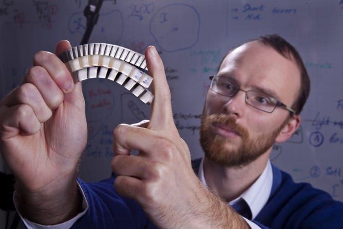 """""""The secret behind this material is in the combination and design of hard scales above with soft, flexible tissue below,"""" says Technion Assistant Professor Stephan Rudykh, pictured here."""