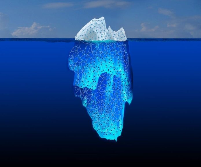 """What you see when you do a basic Web search is only the tip of the iceberg. Most of the information is buried in the """"Deep Web."""" JPL is collaborating on a DARPA initiative called Memex, which explores the connections between bits of information hidden in this vast ocean of content. Image credit: NASA/JPL-Caltech"""