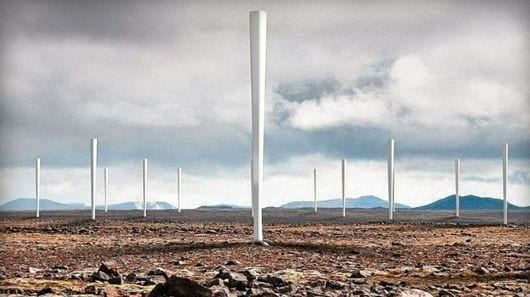 Groups of Vortex units can be placed close together as the disruption of the wind stream is not as critical to operation as it is for traditional, blade-driven wind turbines (Credit: Vortex)