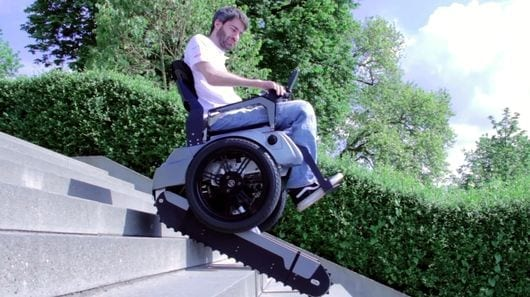The Scalevo wheelchair at its first public demo (Credit: Scalevo)